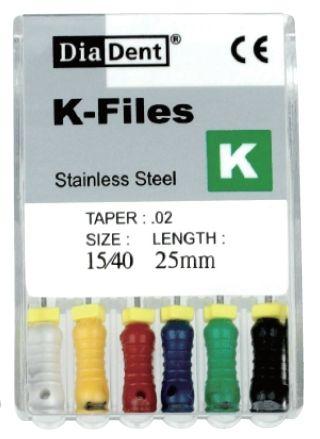 K-Files - SS - 25 mm - ruční sada - pilníky -- nerezová ocel DiaDent