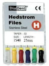 H-Files - SS - 25 mm - ruční sada - pilníky - nerezová ocel DiaDent