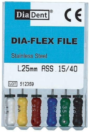 Dia-Flex Files - SS - Flexibilní K-Files - ruční sada - 31 mm - nerezová ocel DiaDent
