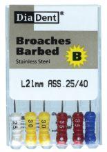 Barbed Broaches - SS - 25 mm - ruční soubory - extirpační jehly - nerezová ocel