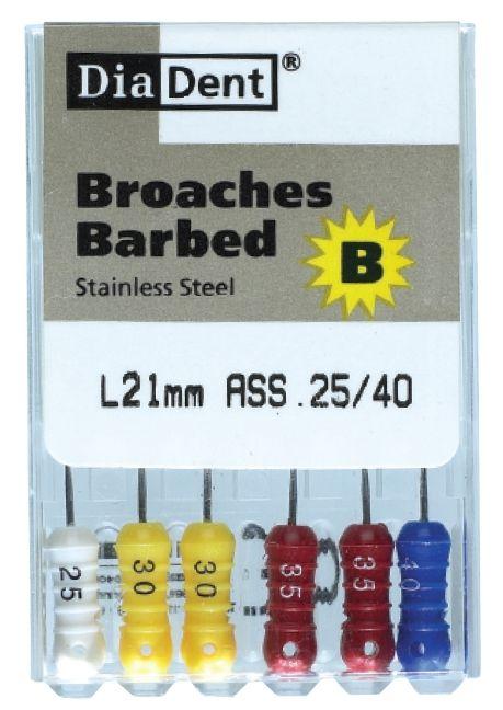 Barbed Broaches - SS - 21 mm - ruční soubory - extirpačni jehly - nerezová ocel DiaDent