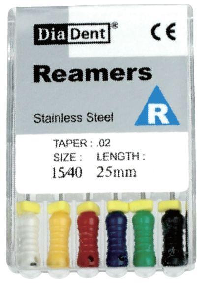 Reamers - SS - 21 mm - ruční sada - pronikače - nerezová ocel DiaDent
