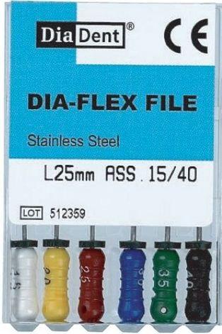 Dia-Flex Files - SS - Flexibilní K-files - ruční sada - 21 mm - nerezová ocel DiaDent