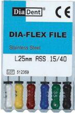 Dia-Flex Files - SS - Flexibilní K-files - ruční sada - 21 mm - nerezová ocel