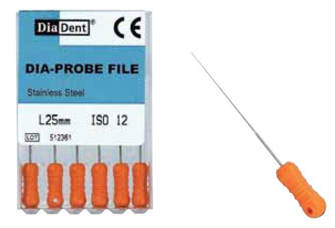 Dia-Probe File - ruční sada - vel. 12 , (SS) nerezová ocel DiaDent